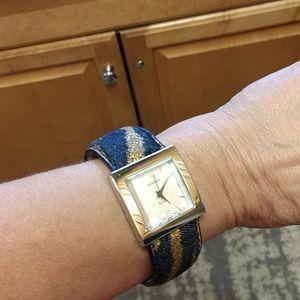 Denim/gold Sparkle bracelet Watch, like new